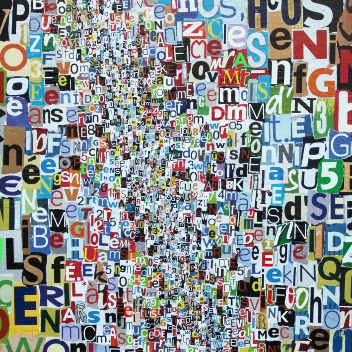 Eric Bossard - Club de Rome - 110 x 110 cm - Collage sur toile - BOS_17_044