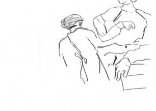 Soins intensifs, croquis - Eliane Beytrison