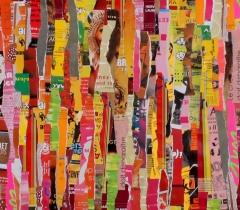 Eric Bossard - D. et D. Meadows - 270 x 45 cm - Collage sur toile - BOS_17_045 (EN PRET)
