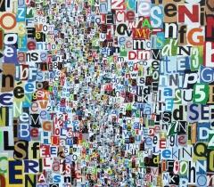 Eric Bossard - Club de Rome - 110 x 110 cm - Collage sur toile - BOS_17_044 (EN PRET)